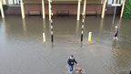 Flooding near the seafront in Westcliff-on-Sea, Essex