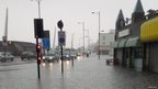 A flooded street in Southend, Essex