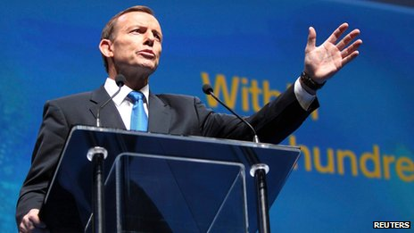 Australia's conservative opposition leader Tony Abbott launches his party's election campaign in Brisbane