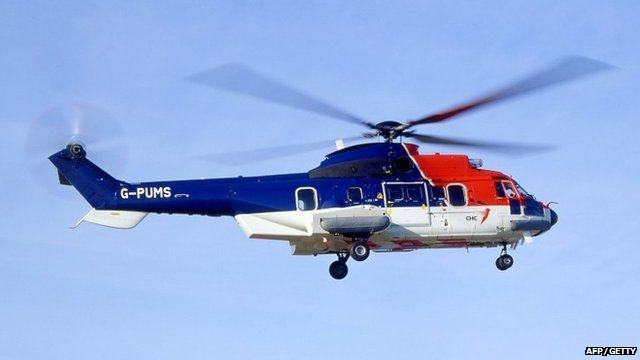 A Eurocopter AS332 Super Puma L2 variant - the same model as the CHC operated helicopter that crashed in the North Sea off the coast of the Shetland Islands