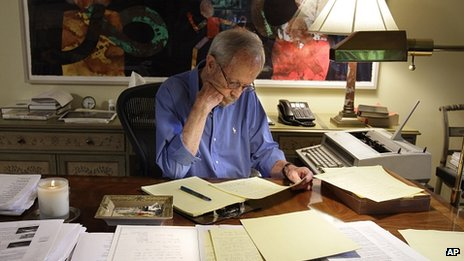 Elmore Leonard working in 2010