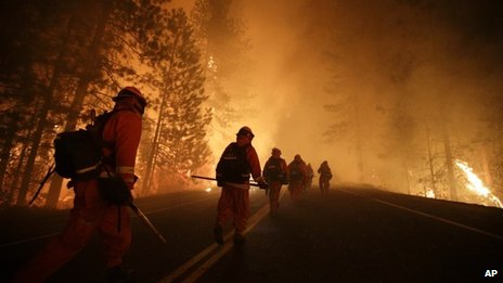 Firefighters tackle the Rim Fire near the Yosemite National Park in California on 25 August 2013