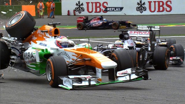 Paul Di Resta crashes out at Spa-Francorchamps.