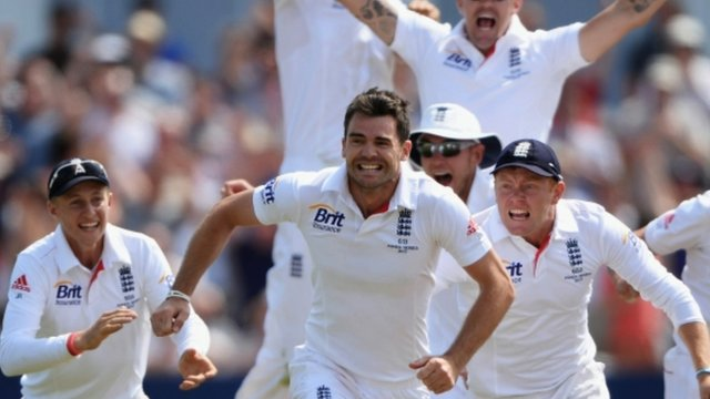 England celebrate after winning an Ashes Test match