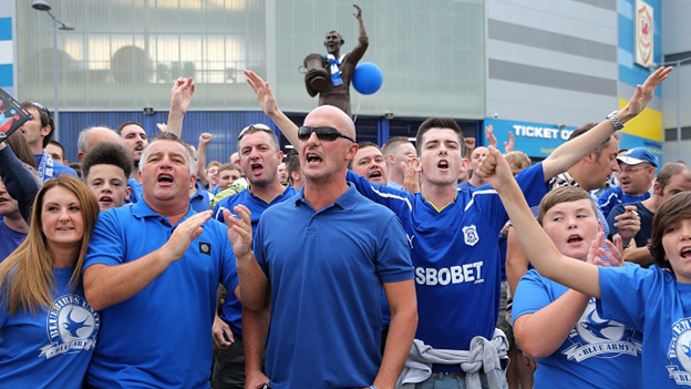 Cardiff City fans arrive outside the stadium