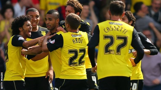 Watford celebrate their equaliser