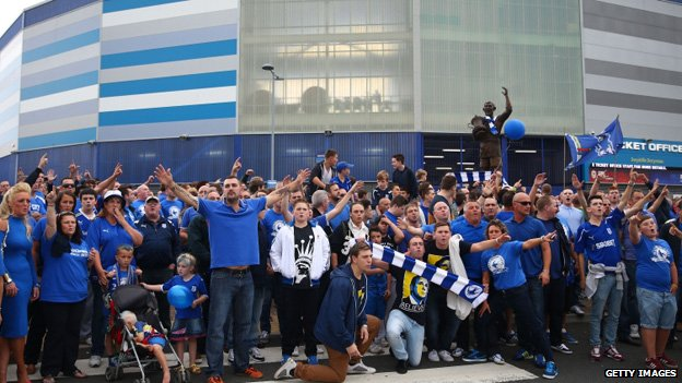Fans outside the Cardiff stadium