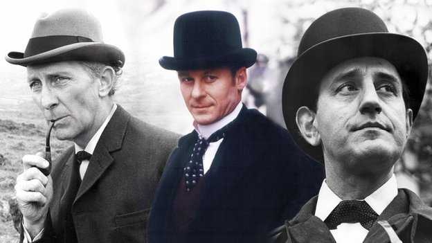 Peter Cushing (1968), Richard Roxburgh (2002) and Douglas Wilmer (1964) as Sherlock Holmes