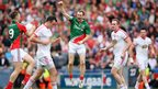 Keith Higgins of Mayo celebrates as the final whistle sounds at the end of the semi-final against Tyrone