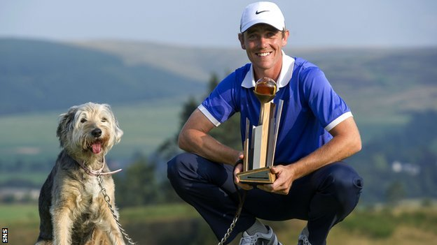 Tommy Fleetwood and the family dog, Maisy