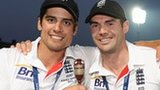 England captain Alastair Cook and James Anderson with the Ashes urn
