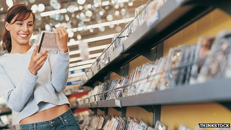 Woman  buying CDs