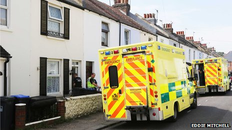Ambulances outside property in Orme Road, Worthing