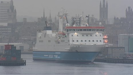 A ferry ship came into Aberdeen carrying three of the four dead
