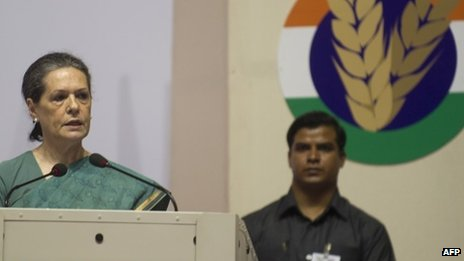 Congress Party Chairman Sonia Gandhi delivers a speech in support of the Food Security Bill on 20 August 2013