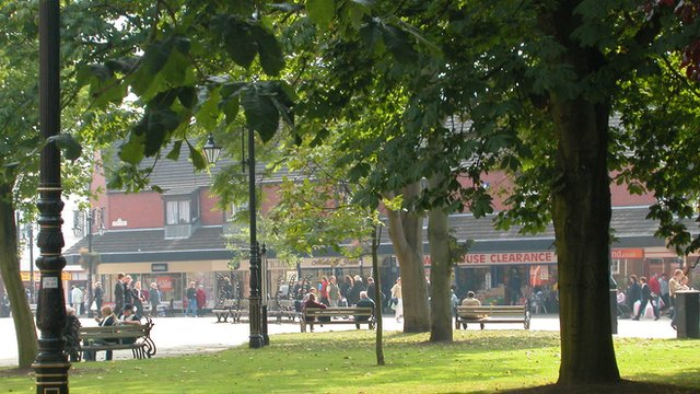 Looking towards Queen's Square in Wrexham town centre