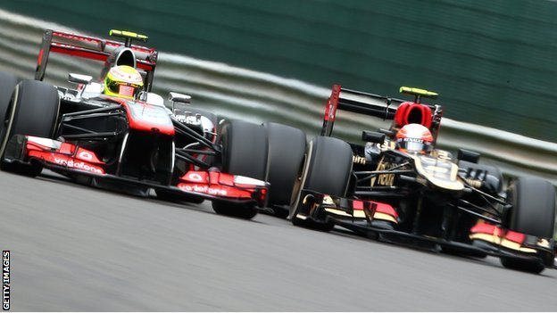 Sergio Perez (lefty) and Romain Grosjean duel in Belgium