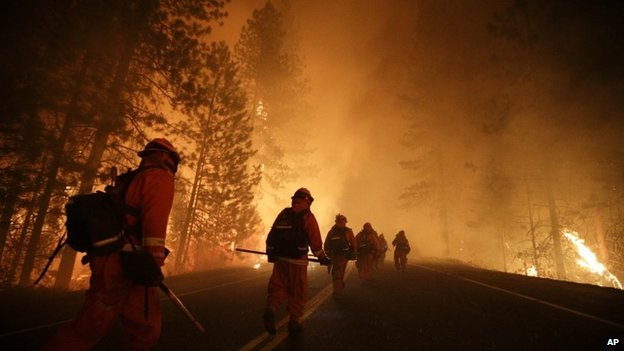 Firefighters battle the Rim Fire near Yosemite National Park, California, on 25 August 2013