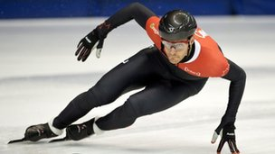 Speed skater Olivier Jean trains for Olympic trials in Montreal, Canada on 31 July 2013