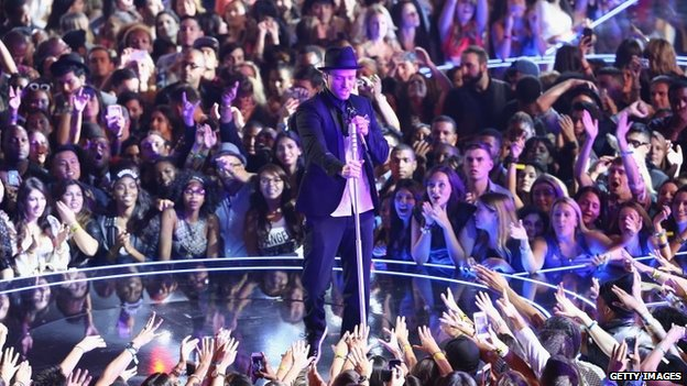 Justin Timberlake onstage at the 2013 MTV Video Music Awards in New York on 25 August 2013