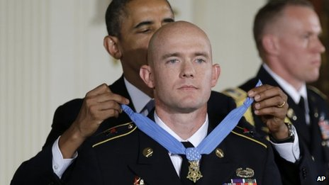 President Barack Obama awards US Army Staff Sgt Ty M Carter the Medal of Honor for conspicuous gallantry 26 August 2013