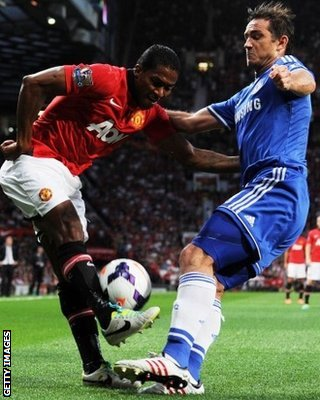 Manchester United winger Antonio Valencia is tackled by Frank Lampard