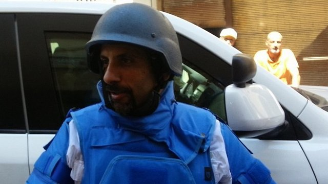 Member of UN inspection team in Damascus. 26 Aug 2013