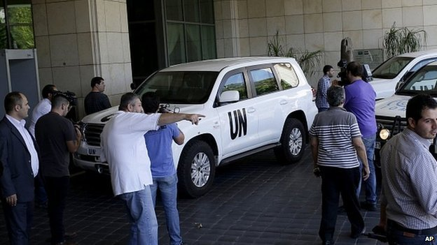 UN disarmament chief Angela Kane arrives at hotel in Damascus. 24 Aug 2013