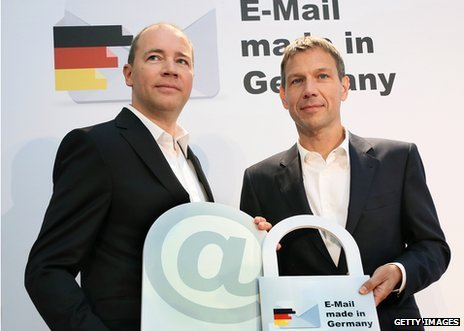 Ralph Dommermuth, left, of United Internetand Rene Obermann, of Deutsche Telekom, promoting German email providers in August 2013