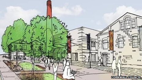 Artist's impression, Redruth Brewery site