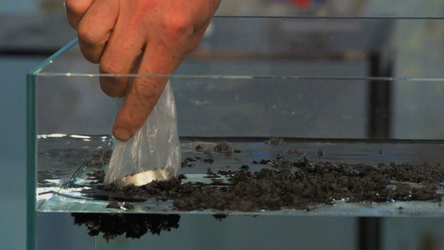 Mark Miodownik uses a magnet to clean up an oil spill