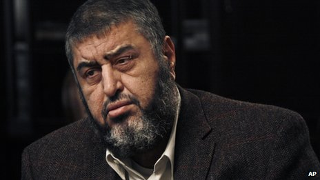 Muslim Brotherhood nominated deputy leader Khairat el-Shater pauses during an interview with the Associated Press in Cairo, Egypt.