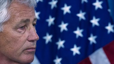 """US Defence Secretary Chuck Hagel says American forces are """"ready"""" to launch a strike on Syria if President Barack Obama gives an order to attack"""