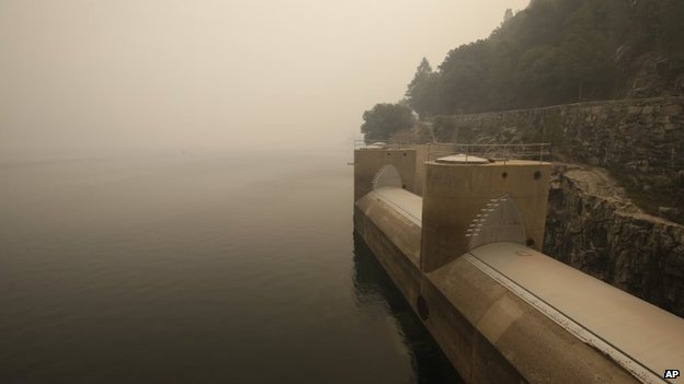 Ash shrouds the Hetch Hetchy reservoir near Yosemite National Park in California on 26 August 2013