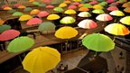 Umbrellas on display at shopping mall in Seoul, South Korea