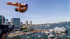 Diver Michal Navratil diving from a 27.5 metre platform in Boston