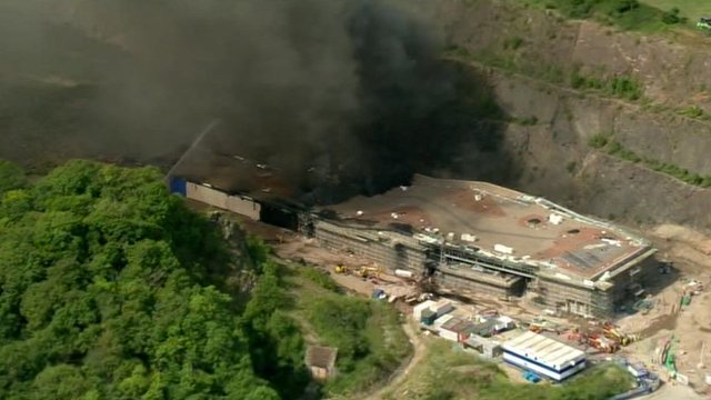 Fire burning at police firearms training centre