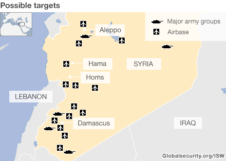 Map: possible strike targets