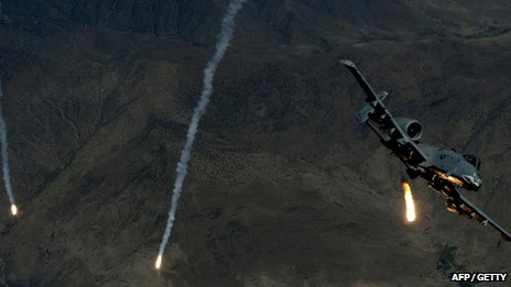 A US Air Force A-10 Thunderbolt II deploying flares during a mission over south-west Asia.
