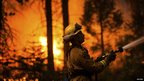 A fireman fights a raging wildfire near Camp Mather, California