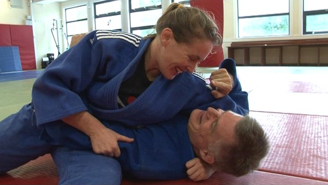Connie Ramsay pins BBC Scotland presenter John Beattie on the mats