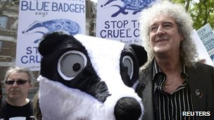 Brian May leads a protest against the cull of tuberculosis-infected badgers in central London