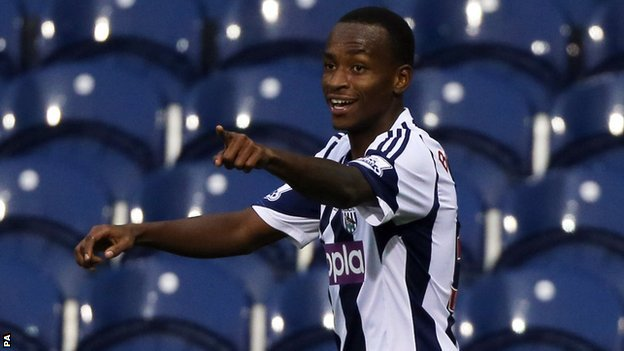 Saido Berahino celebrates at the Hawthorns