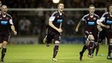 Hearts needed a penalty shoot-out to knock 10-man Raith Rovers out of the League Cup