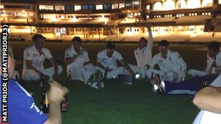 A picture of the Ashes win celebrations tweeted by England cricketer Matt Prior (@MattPrior13)