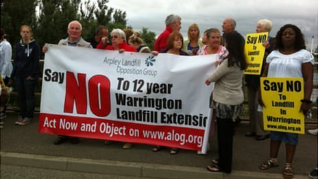 Arpley Landfill protesters