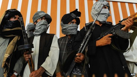 Former Taliban fighters hand over their weapons to Afghan government forces in Afghanistan on 7 August 2013