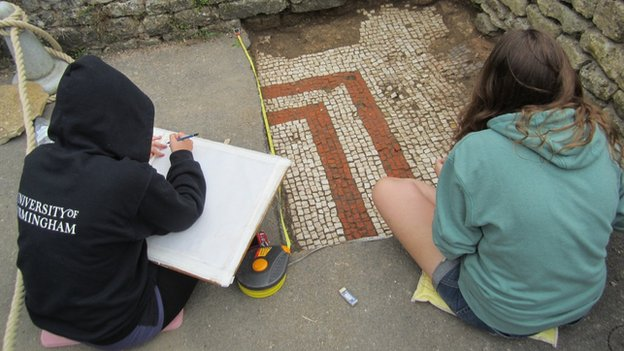 Recording the mosaic beneath a path