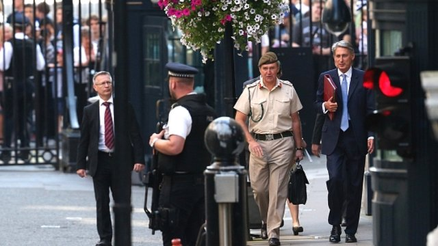 Politicians and military leaders arrive at Downing Street