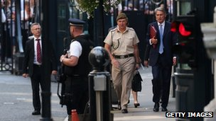 Defence Secretary Philip Hammond and Chief of the Defence Staff Gen Sir Nick Houghton arrive for the National Security Council meeting